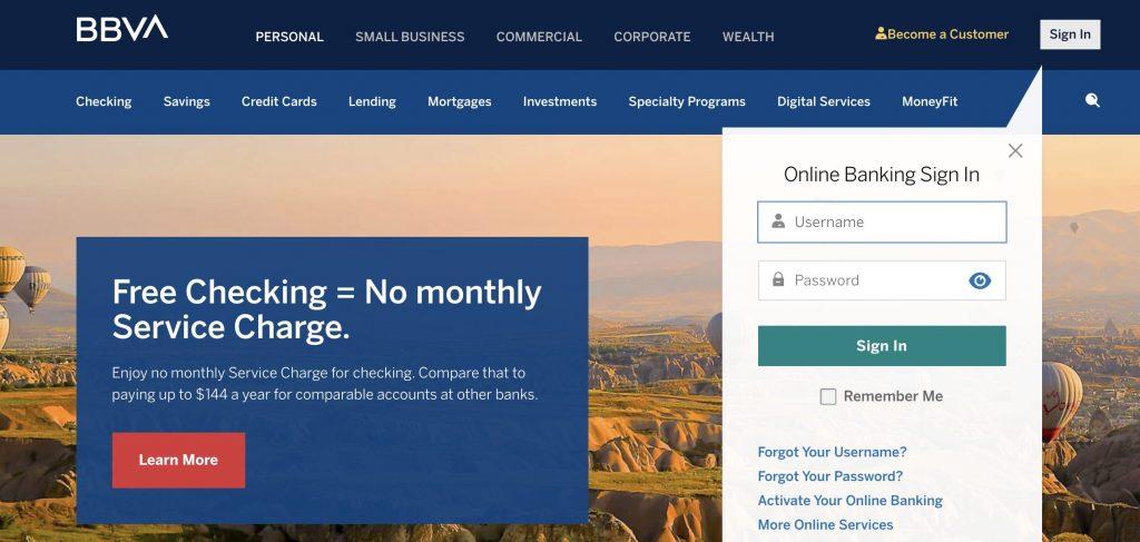 BBVA checking account for bad credit