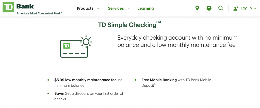 TD Checking Account- Best Banks Who Don't Use ChexSystems