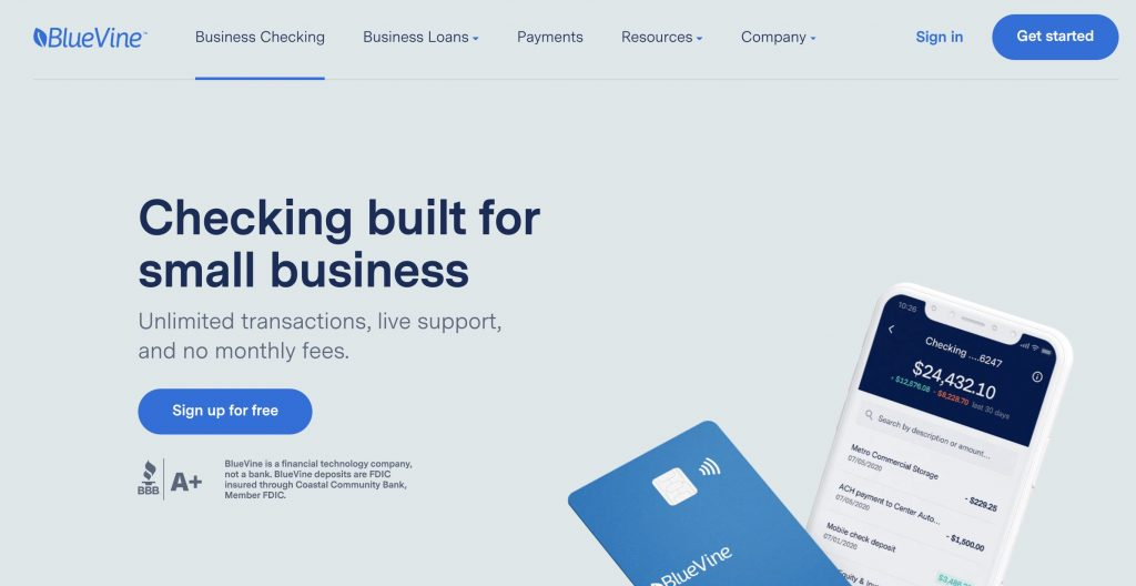 best small business checking account Bluevine